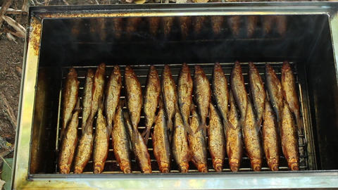 Smokehouse with smoked fish Footage