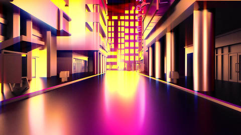 Abstract animation of a camera moving through the city buildings. Looping Animation
