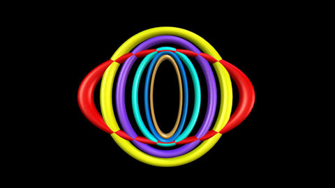 Abstract animated 3d logotype composed of variegated plastic rubber oval. Ovals Animation