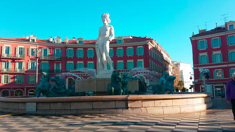 Fountain of the Sun on Place Massena in Nice France Footage