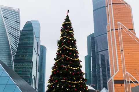 New Year tree among skyscrapers Fotografía