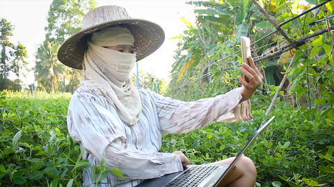 4K Farmer using smartphone and laptop computer to video conference and chat 画像