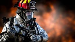 Fireman fire background slow motion CG動画素材