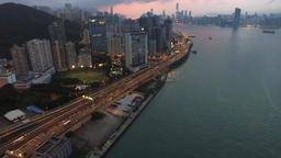 City sky drone seascape Filmmaterial