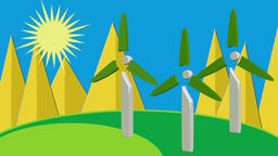 New energy windmill flattening animation Animation