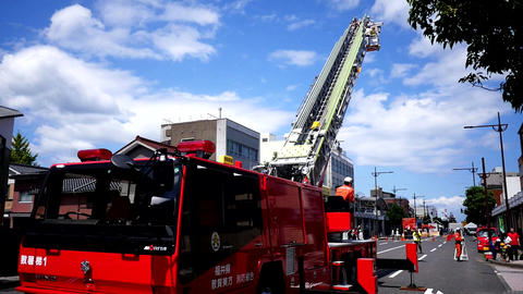 fire fighter, fire engine & fire brigade in training action Live Action