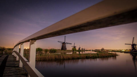 Hyper lapse at Windmills, Kinderdijk, Netherlands Footage