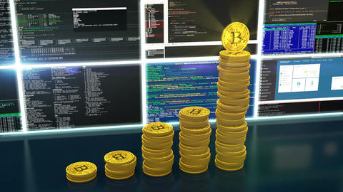 Animation of mining bitcoins cryptocurrencies loop Animation