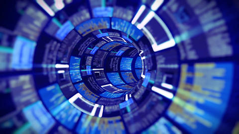 3D flight in the blue optic tunnel data processing Animation