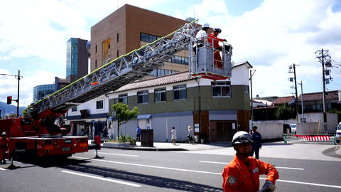 fire fighter, fire engine & fire brigade in training action ビデオ
