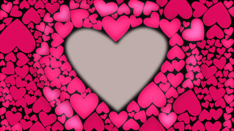 Red heart glow with waves from cnter to outer. Heart shape animation. Pink color Image