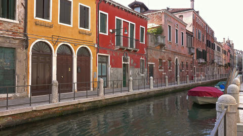 Multi-colored houses on canal in Venice, Italy Footage