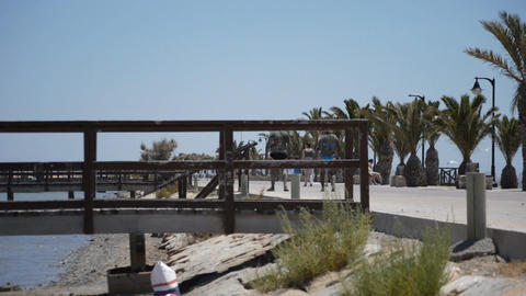Piers Bridges Near Shore Beach Footage