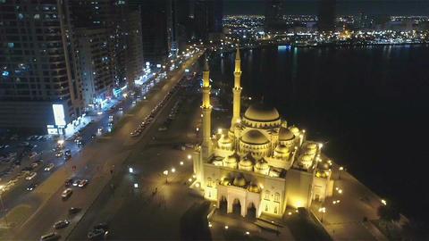 """Flight over the mosque """" Al Noor """" in Sharjah in the evening 画像"""