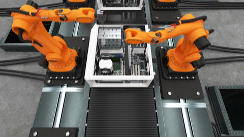Band of Robotic Arms Assembling Computer Cases On Conveyor Belt. Modern Advanced Animation