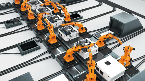 Many Robotic Arms Assembling Computers On Conveyor Belt. Modern Advanced Animation