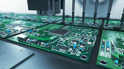 Beautiful Process of Robotic Arm Circuit Board Production on Conveyor Belt Animation