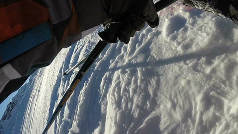 POV of skier recovering from a fall Footage
