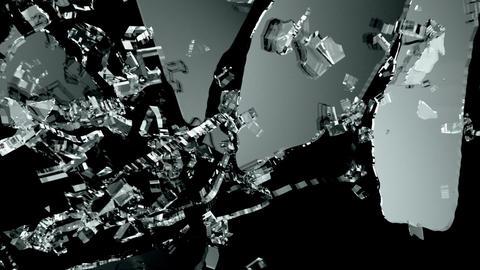 Broken and damaged glass slow motion Alpha matte Animation