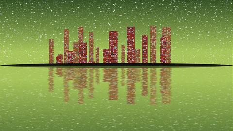 Full Moon night, cityscape illustration with lighting buildings on island, Footage