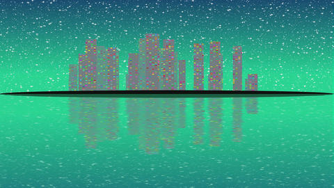 Full Moon night, cityscape illustration with lighting buildings on island, 画像