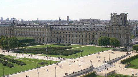 Aerial view on The Tuileries Gardens in Paris in 4k Footage