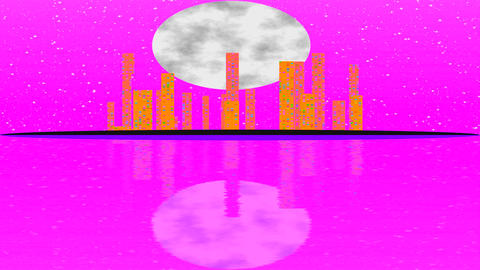 Full moon movement overlooking. The modern city skyline with transition of sky Footage