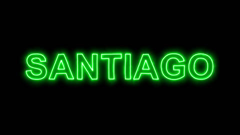Neon flickering green capital name SANTIAGO in the haze. Alpha channel Animation