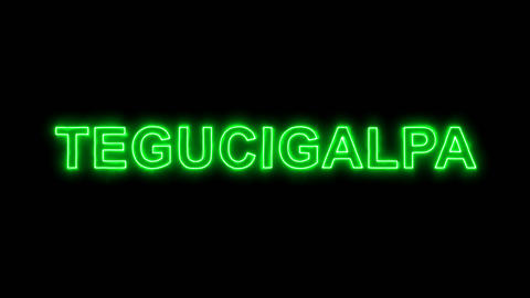 Neon flickering green capital name TEGUCIGALPA in the haze. Alpha channel Animation