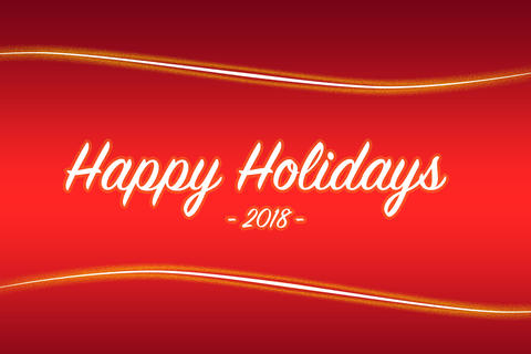 Red Background with yellow lines and text Happy Holidays Fotografía