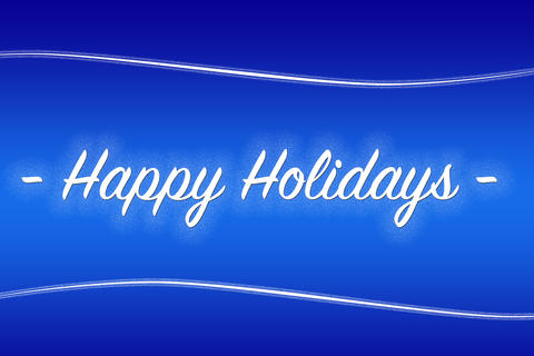 Blue background with text Happy Holdiays フォト