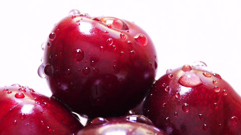 Drops of Water on Fresh Cherry Berries Image