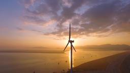 Aerogenerator sun rise Filmmaterial