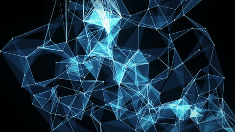 Abstract Motion Background - Digital Binary Polygon Plexus Data Networks Animation