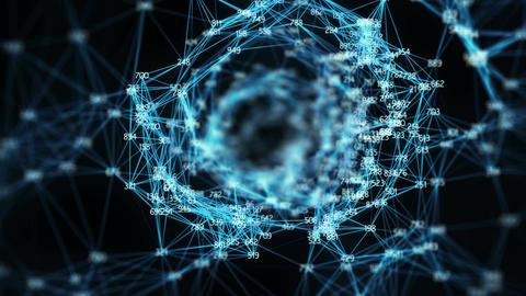 Abstract Motion Background - Digital Random Digits Plexus Tunnel Alpha matte Animation