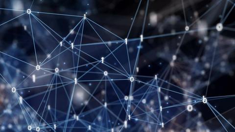 Abstract Motion Background - Digital Binary Polygon Plexus Data Networks Animation