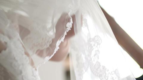 Wedding veil on bed Footage