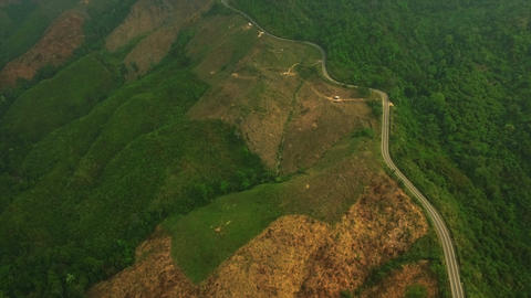 Aerial View of Country Road on the Mountain Footage