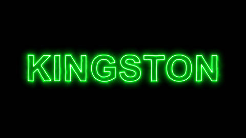 Neon flickering green capital name KINGSTON in the haze. Alpha channel Animation