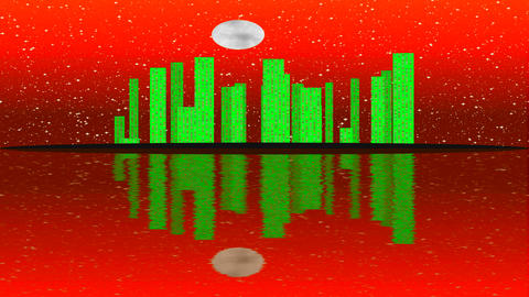 Abstract futuristic night city on colorful sky background. Full moon transition Footage