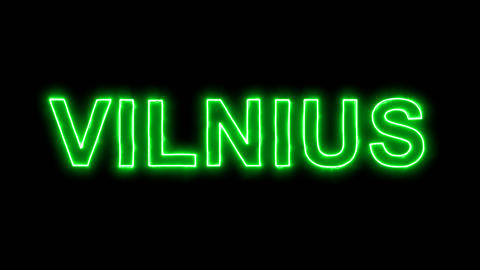 Neon flickering green capital name VILNIUS in the haze. Alpha channel Animation