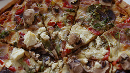 Close Of Huge Pizza stock footage