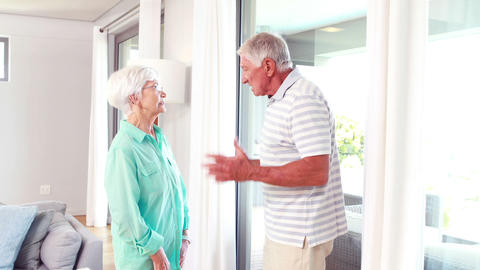 Senior Couple Arguing stock footage