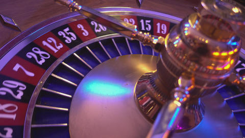 Roulette Wheel in a casino - 23 red wins Live Action