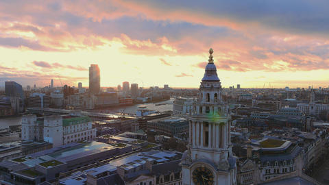 London skyline from above at sunset Live Action