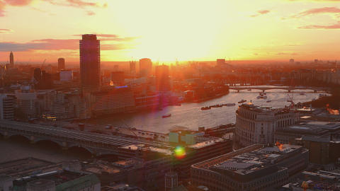 Sunset over River Thames in London Live Action