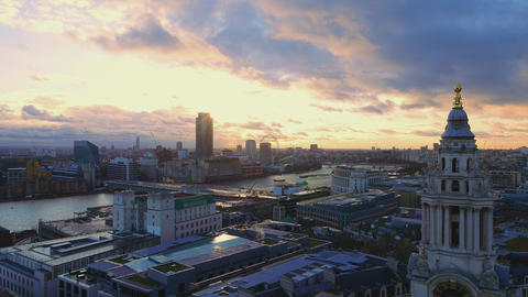 London - aerial view in the evening Live Action
