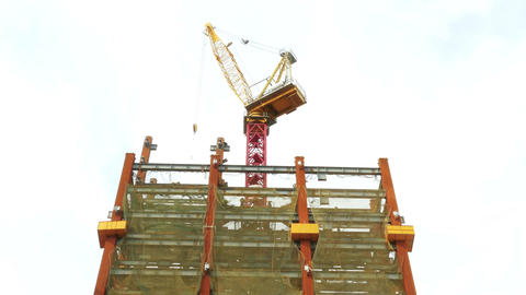 Tower crane on building Footage