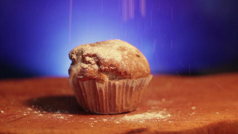 Muffin cake with white powdered sugar Footage