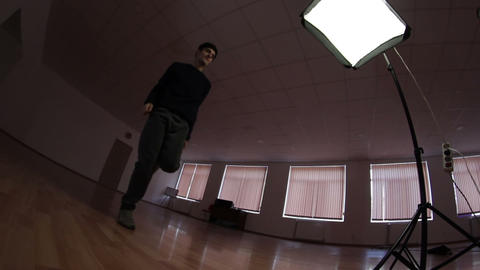 freestyle dancer practiced in the studio - dolly tracking camera Live Action